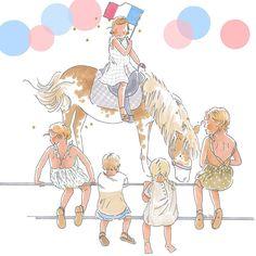 * happy long week-end! * happy 14 juillet ! #bybm #bybmillustration #childhoodillustration #14juillet #fetenationale #weekend #défilé #france #cheval #spectateurs #horse #parade #bastilleday #spectators #horseriding #cavalière #drapeau #flag #frenchflag #celebration #nationalday #illustrator  #illustration #illustratrice #illustrateur #portedrapeau