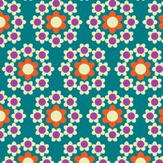 Daisy_Chain teal fabric by aliceapple on Spoonflower - custom fabric
