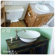 Small bathroom makeover -- with real life story of how it all came together..... I want this sink in my life now!
