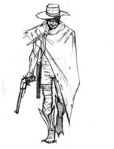 Pencil Drawing Design Cowboy Zombie by ArtofTu on DeviantArt - Dark Art Drawings, Tattoo Drawings, Drawing Sketches, Tattoos, Pencil Drawings, Sketch Inspiration, Character Design Inspiration, Cowboy Draw, Cowboy Cowboy
