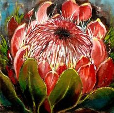 Protea Art, King Painting, Clay Paint, Canvas Paintings, Pictures To Paint, Acrylic Art, Botanical Prints, Trees To Plant, Painting Inspiration