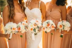 White, ivory, and dusty rose bridesmaid bouquets | Nordica Photography