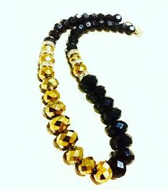 Black and Gold Rondelle Cut Glass Bead Womens Necklace