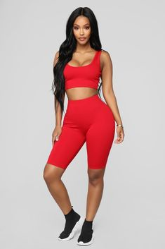 cfe5d5fa6f8dee Bondoc Biker Short Set - Red. Church OutfitsChurch ClothesShort  SetHoneymoon OutfitsCropped Tank TopSkinny ...