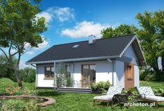 Projekt domu Antek - dom parterowy, z dwoma pokojami, idealny dla 3 osobowej rodziny ceramika - Archeton.pl Gazebo, Outdoor Structures, House Design, Cabin, House Styles, Outdoor Decor, Home Decor, Tiny House Cabin, Kiosk