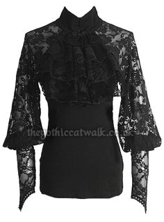 Gothic Victorian Black Lace Ruffle Neck Top