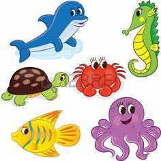 Set of cartoon sea animals illustration