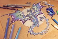 Dragon of the Northern moon [work in progress] by AlviaAlcedo on DeviantArt Fantasy Dragon, Dragon Art, Fantasy Art, Dragon Moon, Beautiful Drawings, Cool Drawings, Fantasy Creatures, Mythical Creatures, Dragon Oriental