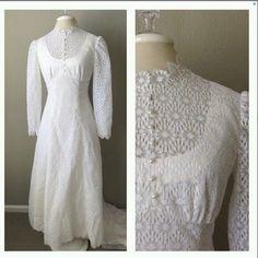 Vintage 70s 60s lace victorian high neck white wedding dress