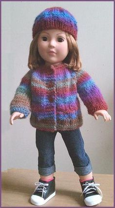 """free doll knitting pattern for 18"""" doll: sweater & hat"""
