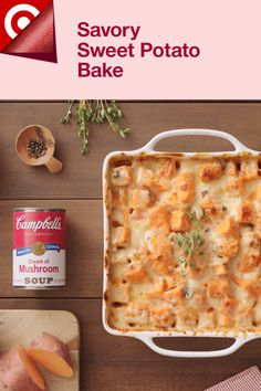 Preheat oven to 450. Prep a 3-quart casserole dish. Peel & cube 5 sweet potatoes. Separately, stir one 10-oz can Campbell's Condensed Cream of Mushroom Soup with 2 T Dijon mustard, 2 t chopped fresh thyme, 2 t garlic powder, ¾ t onion powder in a large bowl. Add the sweet potatoes & toss to coat. Pour the mixture into the casserole & cover. Bake 20 min. Sprinkle with the cheese. Bake, uncovered, for 25 min or until the sweet potatoes are tender. Serve warm & enjoy! Shop ingredients at Target. Dinner Dishes, Food Dishes, Side Dishes, Holiday Recipes, Great Recipes, Favorite Recipes, Baking Recipes, Snack Recipes, Sweet Potato Souffle