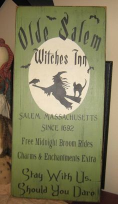 Items similar to Olde Salem Witches Inn Primitive Witch WICCAN Halloween Sign Wood Wall Decor on Etsy Halloween Wood Signs, Diy Halloween Decorations, Holidays Halloween, Vintage Halloween, Halloween Crafts, Halloween Stuff, Halloween Witches, Halloween 2020, Halloween Ideas