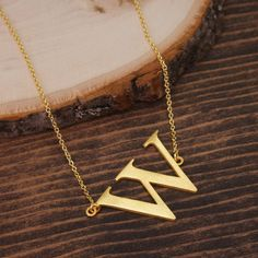 "Letter ""W"" Necklace, Sideways Initial Necklace, Alphabet necklace, Monogram necklace, Gold Necklace, Minimalist Necklace BN1034G3-W by LaurenSpencerJewelry on Etsy"