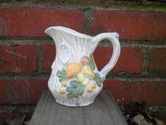 Vintage Woodland Mushroom Ceramic Pitcher, Circa 1970s, Retro Home Décor Housewarming Gift.