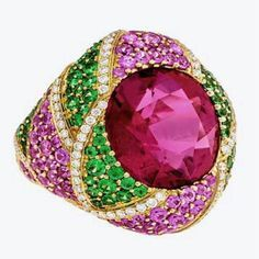 Pink & Green ~ Fabulous Rubellite surrounded by Tsavorite, Pink Sapphires and Diamonds #neimanmarcus #preciousjewels #pinkandgreen #luxuryjewelry @emporiumbne