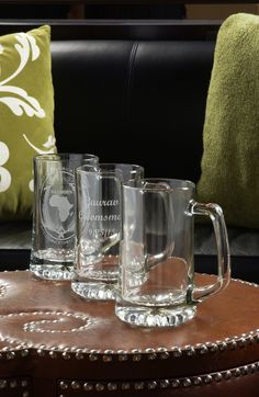 Shop Quality Glass Engraving for glass beer mug products including: bar glasses, glass beer cans, glass soda cans, engraved mason jars, pilsner glasses, and more! Your purchase of a personalized glass beer mug can come custom engraved with your text, names, logos, monogrammed initials and more! You can even engrave text for FREE! Shop Quality Glass Engraving for personalized beer mugs today!   https://www.qualityglassengraving.com/shop/beer-glasses/personalized-beer-mugs-and-beer-steins.html