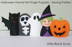 Pattern: Halloween Friends Felt Finger Puppets door LittleBlackDuck