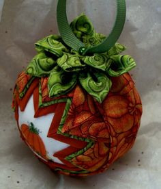 Pumpkin Quilted Fall Quilt Ball ... photo inspiration.. use my pattern for this type xmas ornament but do fall.. so cute