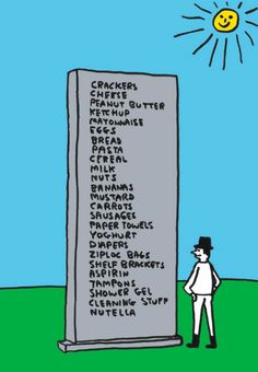 """David Shrigley, """"MEMORIAL"""" artist sketch (courtesy the artist and Anton Kern Gallery) . The real thing — a granite sculpture of a shopping list — will be the next public artwork to be installed in Central Park's Doris C. Dazzle Camouflage, Art Fund, Light Crafts, Favorite Words, Diy Arts And Crafts, A 17, Public Art, Shower Gel, Central Park"""