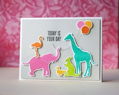 Birthday Animal Silhouettes card by Laura Bassen