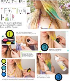 red white and blue, using pastels...use hair straightener/hair spray to seal