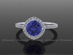 Tanzanite Ring 14k White Gold Diamond And Moissanite Engagement Ring With Cushion Tanzanite And Conflict Free Diamonds Wedding Ring Re00048 #ring #jewelry #engagement #design #armante #esty