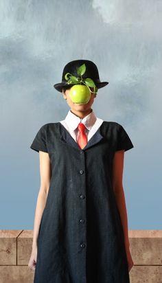 """foto de """"The Uniform Project"""" recreando la obra de René Magritte para un calendario con fines benéficos"""