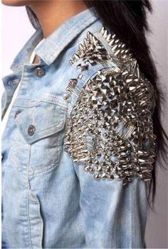 Studded Denim Jacket    daring