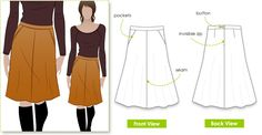 Mary-Ann Skirt sewing pattern. Classic & flattering A-line skirt