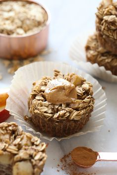 Get your meal prep on this week with these seasonal Apple Chai Oatmeal Cups! They are perfect for snacking, breakfast, or even dessert!