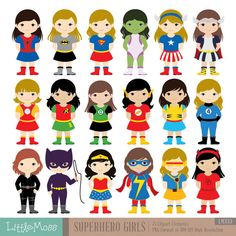 18 Girls Superhero Costumes Clipart, Superheroes Clipart, Superhero Kids, Wonder Woman Clipart, Super Girl Clipart