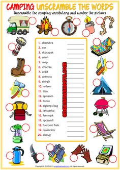 Camping Unscramble the Words ESL Worksheet For Kids Vocabulary Worksheets, Worksheets For Kids, Printable Worksheets, Scout Activities, Camping Activities, Learning Cards, Learning Resources, Test For Kids, Dictionary For Kids
