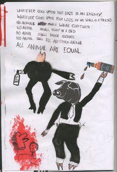 Animal Farm Sketchbook.Illustrations pigs