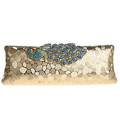Belsen Womens Rhinestone Peacock Evening Bag Clutch Gold * To view further for this item, visit the image link.
