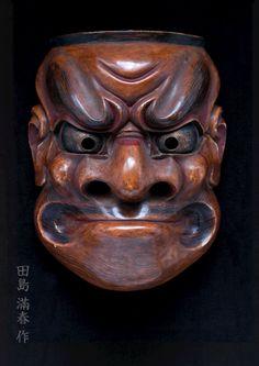 """大癋見(田島滿春作) Noumen """"Obeshimi"""" by Tajima Mitsuharu Noh Theatre, Japanese Mask, Mask Ideas, Masks Art, Irezumi, Japanese Prints, Japanese Culture, Tribal Art, Ancient Art"""