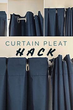 This super easy curtain pleat hack will transform how your curtains hang and look in any room in your house. This super easy curtain pleat hack will transform how your curtains hang and look in any room in your house. No Sew Curtains, Hanging Curtains, How To Hang Curtains, Wall Of Curtains, Sliding Door Curtains, Curtain Rails, Drop Cloth Curtains, Curtain Sets, Blackout Curtains