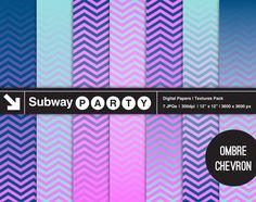 Ombre Chevron Purple Pink Navy Aqua Digital Papers. Gradient Fade Chevron Textures / Scrapbook 12x12 Jpgs. INSTANT DOWNLOAD by subwayParty on Etsy. Perfect for Frozen birthday party decor!