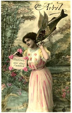 Old French Postcard - April Fool's Day - The Graphics Fairy