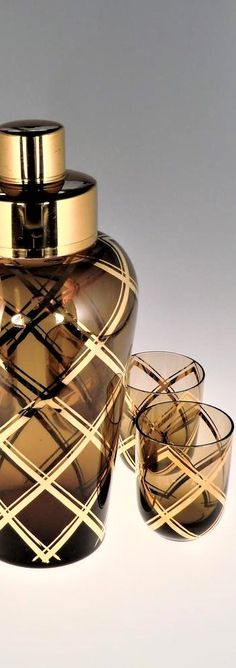 Bohemian Czech Art Deco Glass Shaker set with 6 Glasses by Podbira Brothers - Novy Bor Haida Art Deco Glass, Czech Glass, Christmas Holidays, Perfume Bottles, Bohemian, Dinner, Glasses, Christmas Vacation, Dining