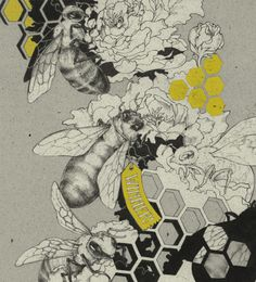 bees, honeycomb, flowers, illustration