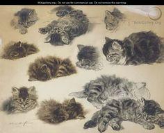Playful poses Studies of kittens - Henriette Ronner-Knip