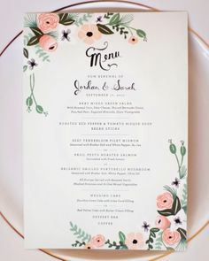 Rose Wedding Menu Card With HandPainted Watercolor Flower Border