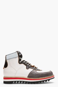 DSQUARED2 White Leather Reflective Lace-Up Boots