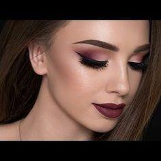 Burgundy smokey eyes and bold lips.. #makeup #eyeliner #eyeshadow #eyebrows #makeupslaves #makeupgirl #lips #lipstick