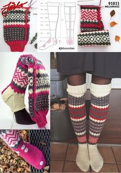 --- Click through for pattern in Swedish. Search engine for more patterns, too. Knitting Videos, Loom Knitting, Knitting Socks, Knitting Projects, Knit Socks, Stocking Pattern, Knee High Socks, Mittens, Knit Crochet
