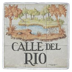 Calle del Rio street sign from Madrid Stone Coaster - travel photos wanderlust traveling pictures photo