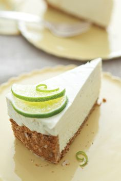 """Lime Mousse Pie - the crust is """"Ginger Snap Coconut"""" and the mousse has fresh lime, white chocolate, cream cheese and whipping cream!"""