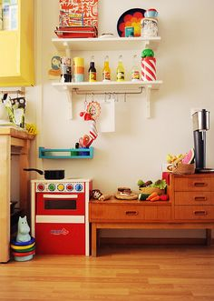 above kitchen. small shelving for plates etc. big for display above.
