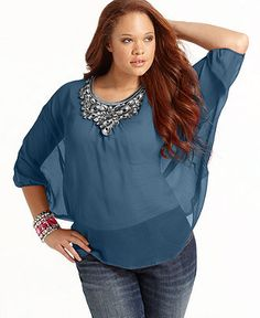 L8ter Plus Size Top, Three Quarter Sleeve Embroidered Sheer Poncho