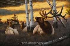 """Royal Summons"" -mansanarez Wildlife Art by Tom Mansanarez, limited edition prints featuring elk, deer, antelope, moose, cats, cougar, mountain lion, hounds, horses, and bobcats. - Limited Edition Prints"